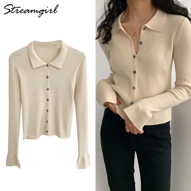 Streamgirl Knitted Cardigan With Buttons Polo Sweater Knitted Coat Women Short Elegant Cardigans For Women Knitwear Cardigans