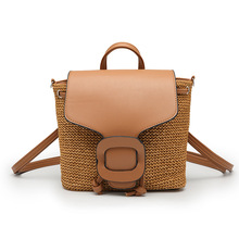 3PCS / LOT Summer Hand Knitting Straw Backpack New Pu Leather Fashion Holiday Weaving Women Travel Laptop