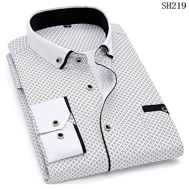 2021 Men Fashion Casual Long Sleeved Printed Shirt Slim Fit Male Social Business Dress Shirts Brand For Men Soft Comfortable 2