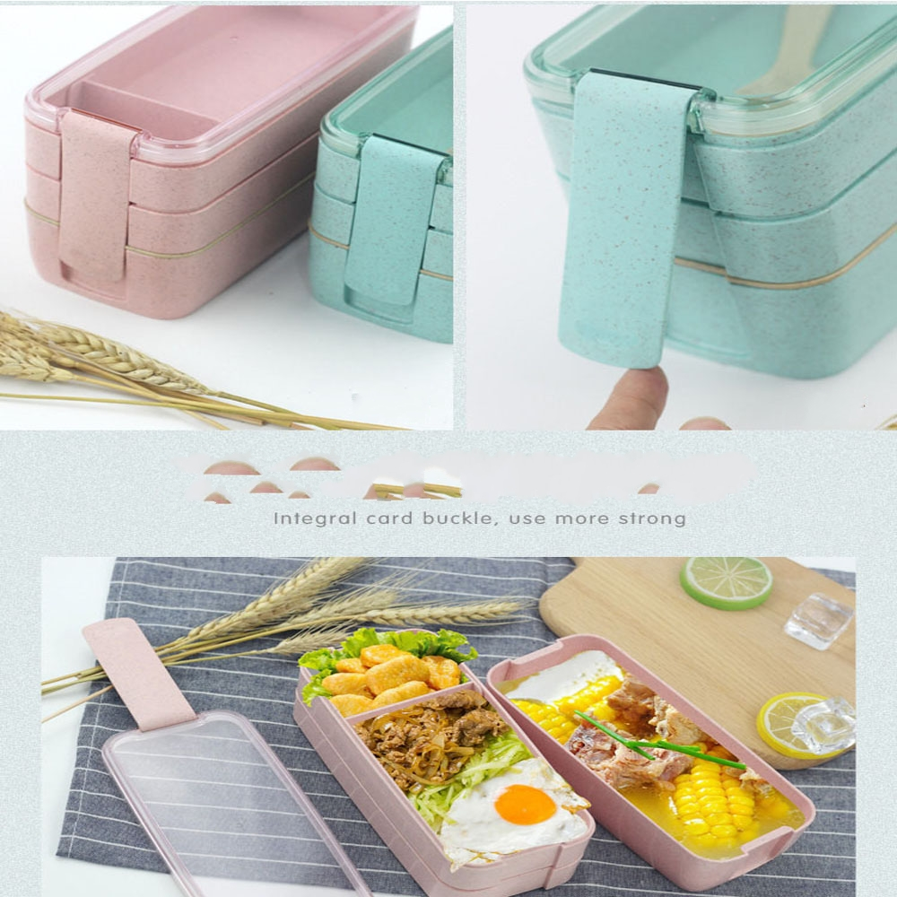900ml 3 Layers Bento Box Lunch Box Food Container Storage Japanese Wheat Straw Material Microwavable Dinnerware Student Lunchbox