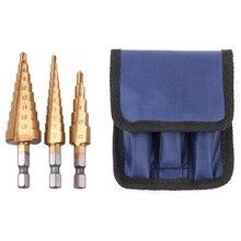цена на 3Pc Hss Step Cone Taper Drill Bit Set Metal Hole Cutter Metric 3-12 4-12 4-20Mm 1/4 inch Titanium Coated Metal Hex Taper