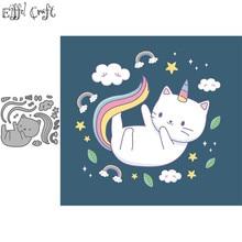 Unicorn cat card metal craft dies cutting for scrapbooking paper Lovely down stencils diy new die 2020