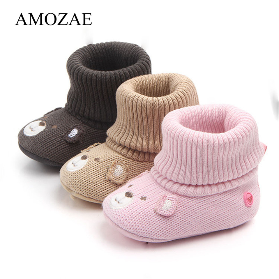 New Arrival Cartoon Autumn Winter Baby Cute Warm Shoes Lovely Babies Boots Soft Bear Walkers Knitted Soft Soles Booties