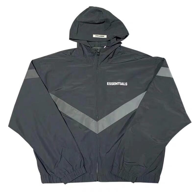 2019 Fog Essentials Collections 3M REFLECTIVE Printed Women Men Jackets Coats Hiphop Streetwear Men Jacket Windbreaker
