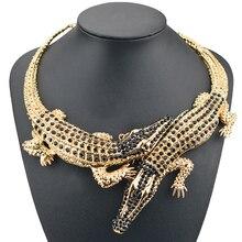 Punk Gold Crocodile Choker Necklace Women Rhinestone Big Pen