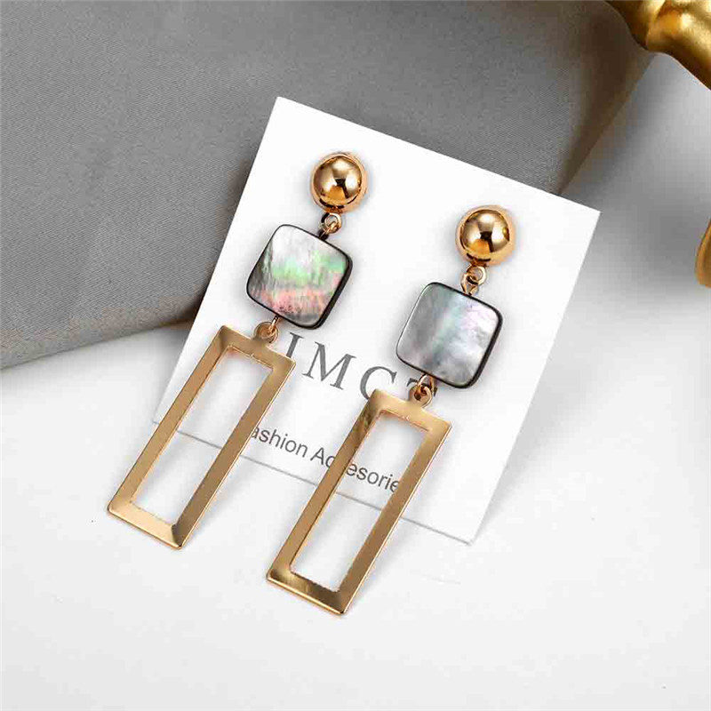 Korean-Style-Asymmetrical-Earrings-Geometric-Drop-Earrings-Rhinestone-Circle-Acrylic-Shell-Earrings-Temperament-Bijoux-Brincos