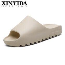 Verão masculino yzy slides respirável legal praia sandálias flip flops boca de peixe homem chinelos leve osso branco plus size 35-46