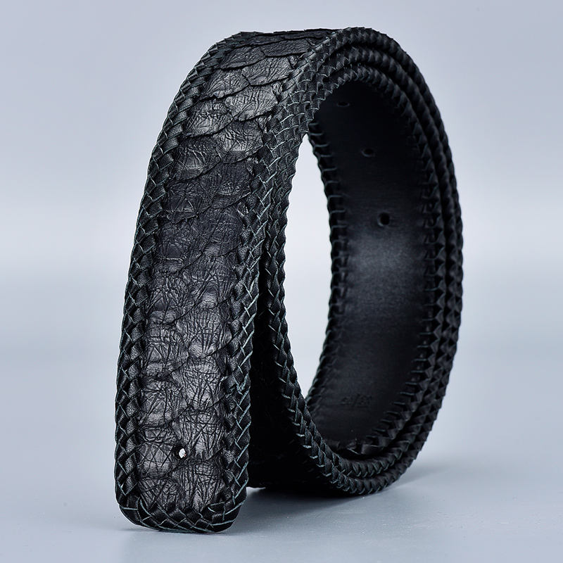 Cinturones de cuero de piel de pitón Real sin hebilla 3,8 CM de ancho de alta calidad de moda tejido trenzado de lujo para hombre cinturones de cintura azul - 4