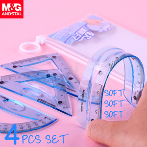 M&G Soft Flexible Geometry Ruler Set Maths Drawing compass stationery Rulers Protractor mathematical compasses for School