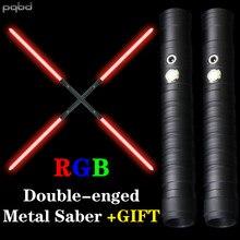 Pqbd jedi sabre de luz duplo-afiado rgb 7 cor alça de metal pesado duelagem som laser espada dois em um switchable led brinquedo cosplay