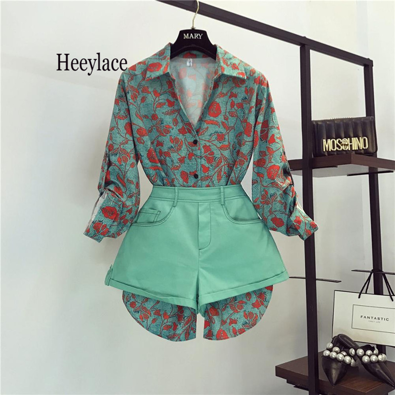 Vintage Printed Single Breasted Long Sleeve Irregular Shirts+high Waist Shorts Women 2019 Fashion Sweet Clothing 2 Pieces Sets