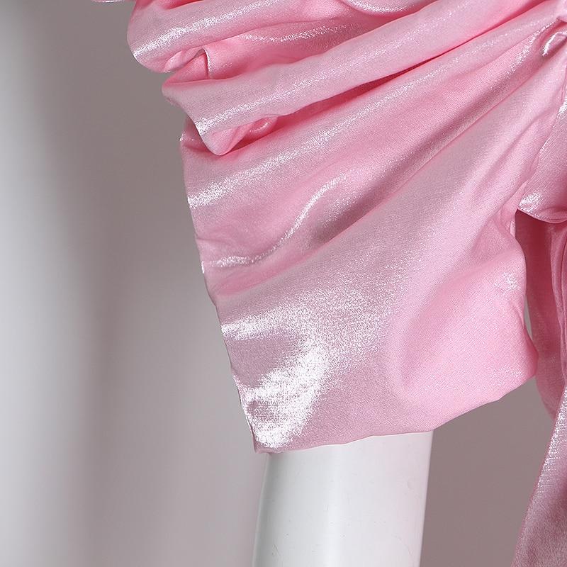 TWOTWINSTYLE Casual Rosa conjunto de dos piezas mujer O cuello camisa de manga farol cintura alta pantalones acanalados túnica traje femenino 2020 ropa nueva - 6