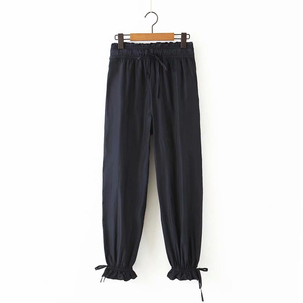 New 2020 Women Fashion Basic Black Pants Elastic Waist Pockets Pleats Female Casual Loose Trousers Ruffles Pantalones Mujer P613