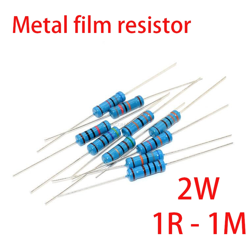 20pcs 2W Metal Film Resistor 5 Color Ring 1% 1R - 1M 1R 22R 47R 100R 220R 470R 1K 10K 22K 100K 220K 10 22 47 100 220 470 Ohm