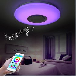 Nordic LED RGB Ceiling Light for Bedroom Ceiling Lamp with Bluetooth Speaker Dimmable Colorful Light Dining Room Indoor Lighting