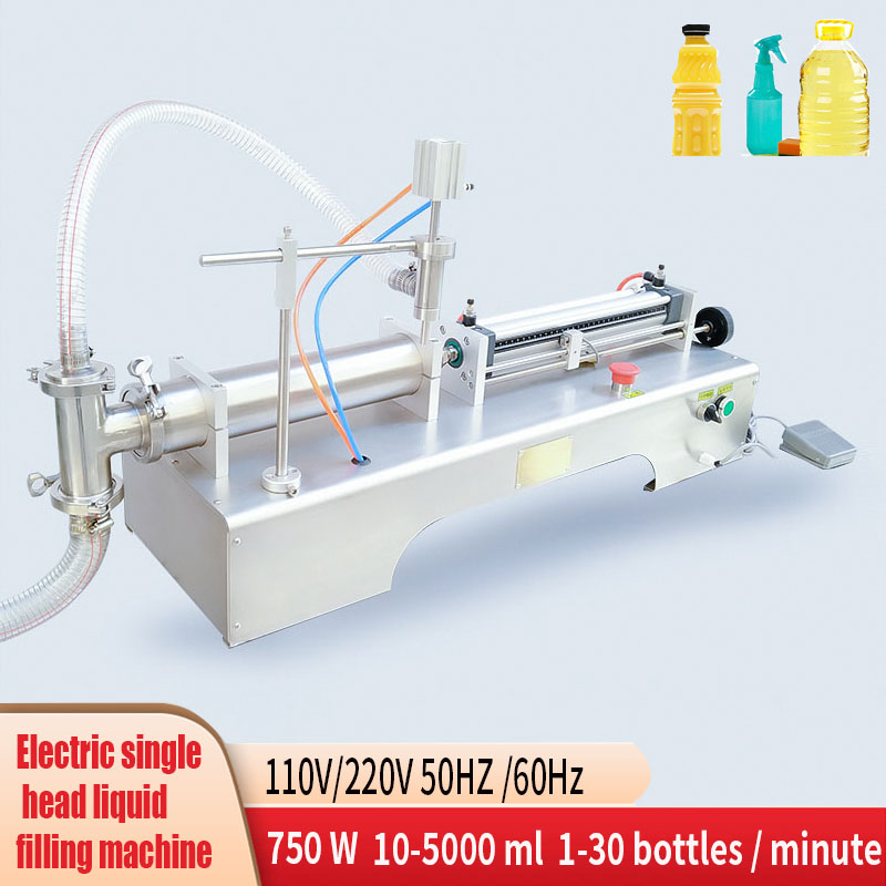 110V 220V 750W Pneumatic Piston Liquid Filling Shampoo Gel Water Wine Milk Vinegar Coffee Oil Drink Detergent Filling Machine