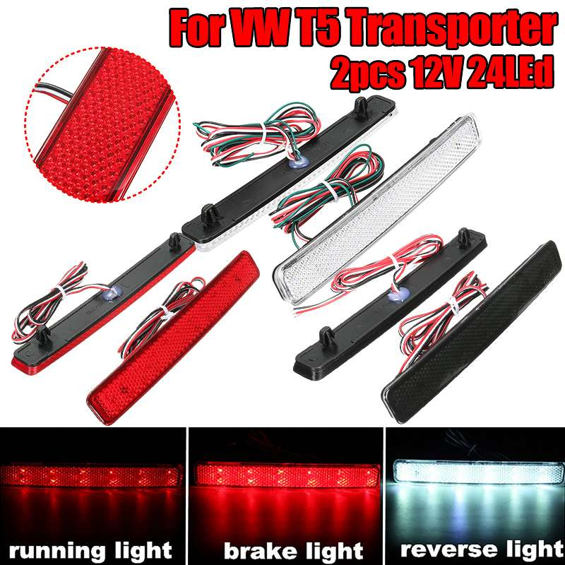 2X 24 LED Car Rear Bumper Reflector LED Tail Stop Brake Light For VW T5 Transporter Caravelle  Multivan 2003 2004 2005 2006-2011