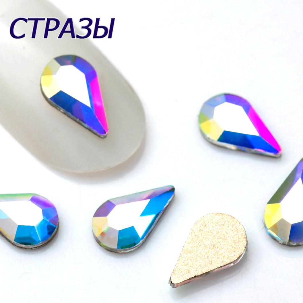 Flat Top Drop Nail Art Rhinestone No Hotfix  Crystal Clear AB  For DIY Nail art Decoration 5x8mm 20pcs Drop Pixie Crystal Stones