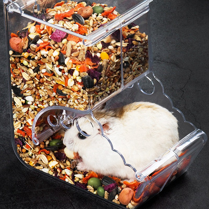 Clear  Small Pets Food Dispenser Automatic Feeder Plastic Small Animals Feeder Food Bowl Container For Hamster Guinea Pigs