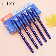 Erasable Pen Washable Handle Ballpoint for School Supply Student Writing Stationery 0.5mm Blue Ink Refill 6Pcs