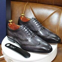 Taille 7-13 à la main hommes Wingtip Oxford chaussures gris en cuir véritable richelieu hommes chaussures habillées classique affaires chaussures formelles pour hommes