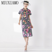MIUXIMAO 2019 Fall Suit Sets 2 Piece Fashion Full Sleeve Flower Print Eleghant Slim Jacket + Skirt Winter Suit Women Vestidos