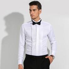Мужской смокинг с французскими манжетами, одноцветная рубашка с воротником-крылышком, мужские нарядные рубашки с длинным рукавом, официальные свадебные вечерние рубашки для жениха