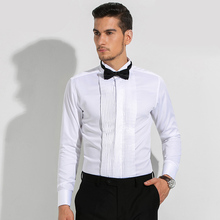 Men's French Cuff Tuxedo Solid Color Wing Tip Collar Shirt Men Long Sleeve Dress