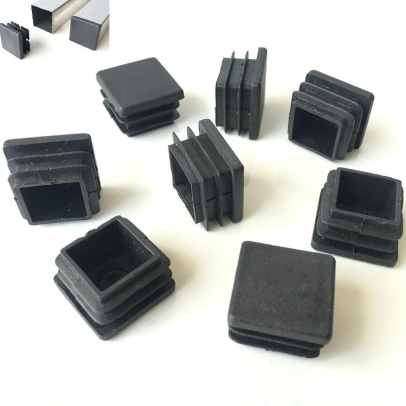 20pcs Black Plastic Blanking End Caps Square Pipe Tube Cap Insert Plugs Bung For Furniture Tables  Chairs Protector