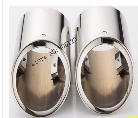 2x Exclusive Car Styling S'Steel Exhaust Muffler Tip Tail Pipe Trim Auto Accessories For VW <font><b>Tiguan</b></font> 2 2017 2018 <font><b>2019</b></font> image