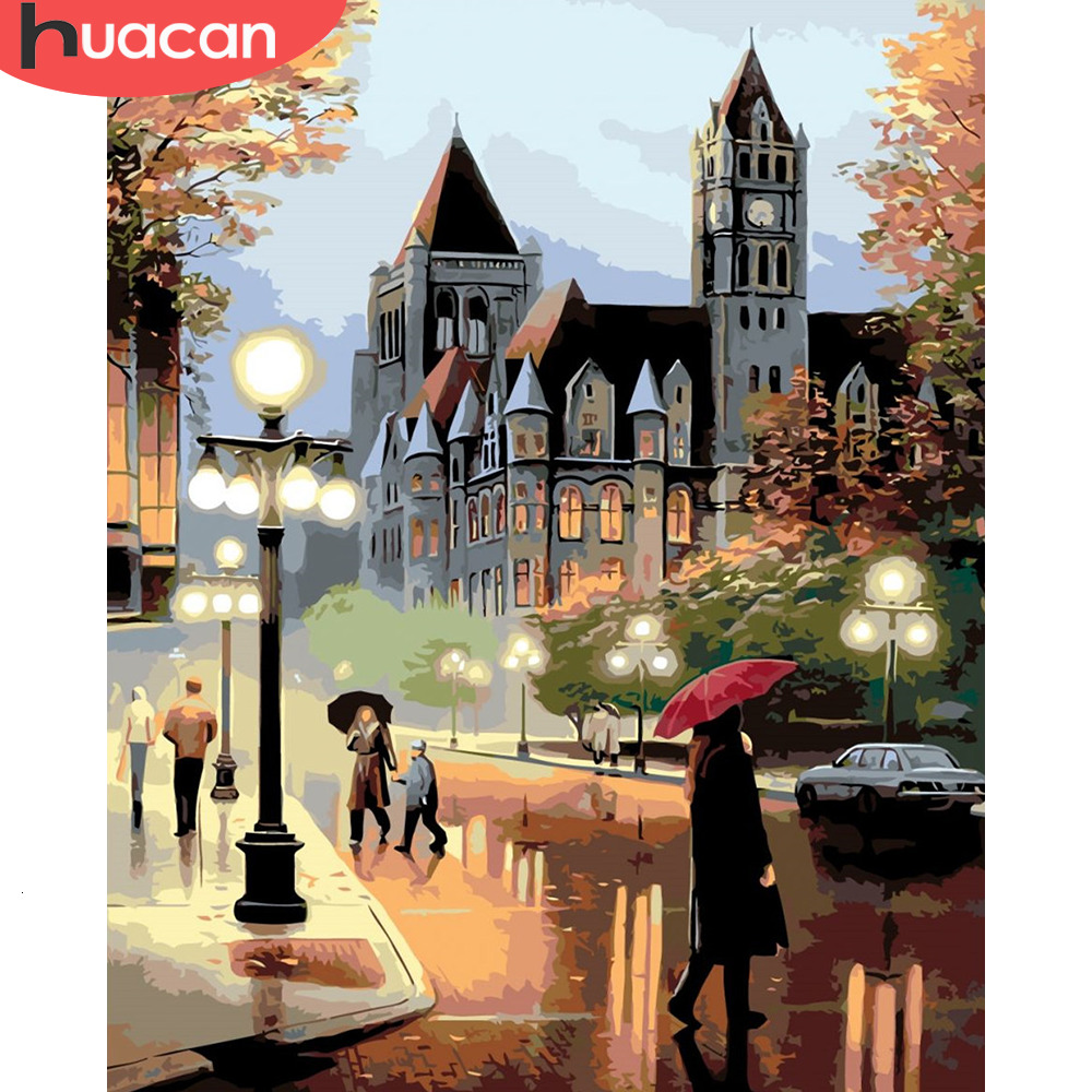 HUACAN Picture By Numbers City Landscape Gift Kits Drawing Canvas HandPainted Painting Home Decor Gift