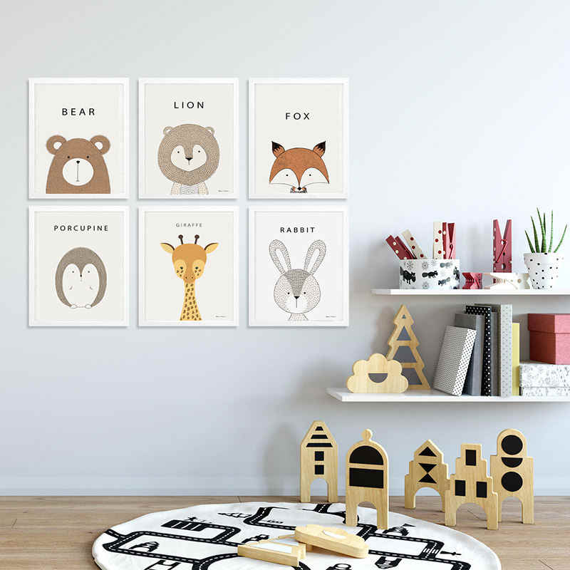 Nursery Painting Cartoon Animal Learning Canvas Art Rabbit Lion Tiger Paintings Kids Baby Room Decor Wall Pictures 12x18 24x36"