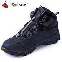 ESDY bottes de moto pour hommes, chaussures de sport en plein air, baskets descalade, résistantes à lusure, respirantes, chaussures de désert tactiques noires
