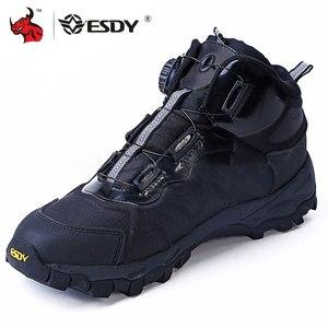 Image 1 - ESDY bottes de moto pour hommes, chaussures de sport en plein air, baskets descalade, résistantes à lusure, respirantes, chaussures de désert tactiques noires