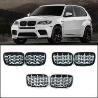 For BMW X5 E70 X6 E71 Diamond Grille Meteor Style Front Bumper Grill Car Styling 2007 2013