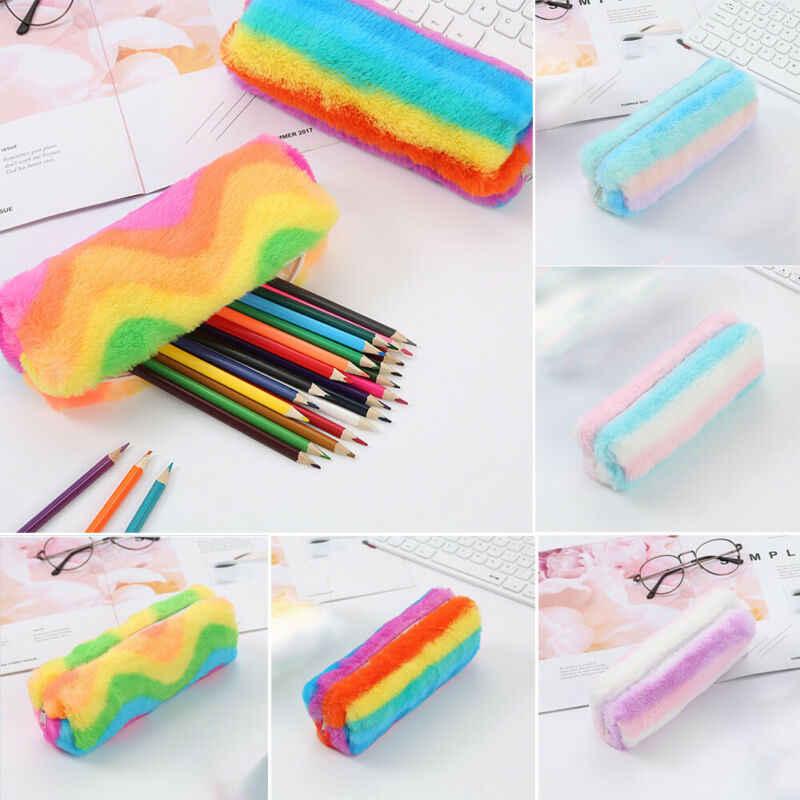Rainbowr Berbulu Kosmetik Tas Ritsleting Pensil Pena Case Kotak Tas Kantong Penyimpanan Kosmetik Perlengkapan