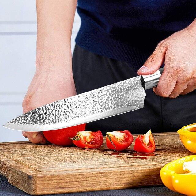 Juego de cuchillos de cocina japoneses, juego profesional de cuchillos de Chef de acero inoxidable, cuchillo de carnicero, Cuchillo de pelado de frutas, 6 unidades 5