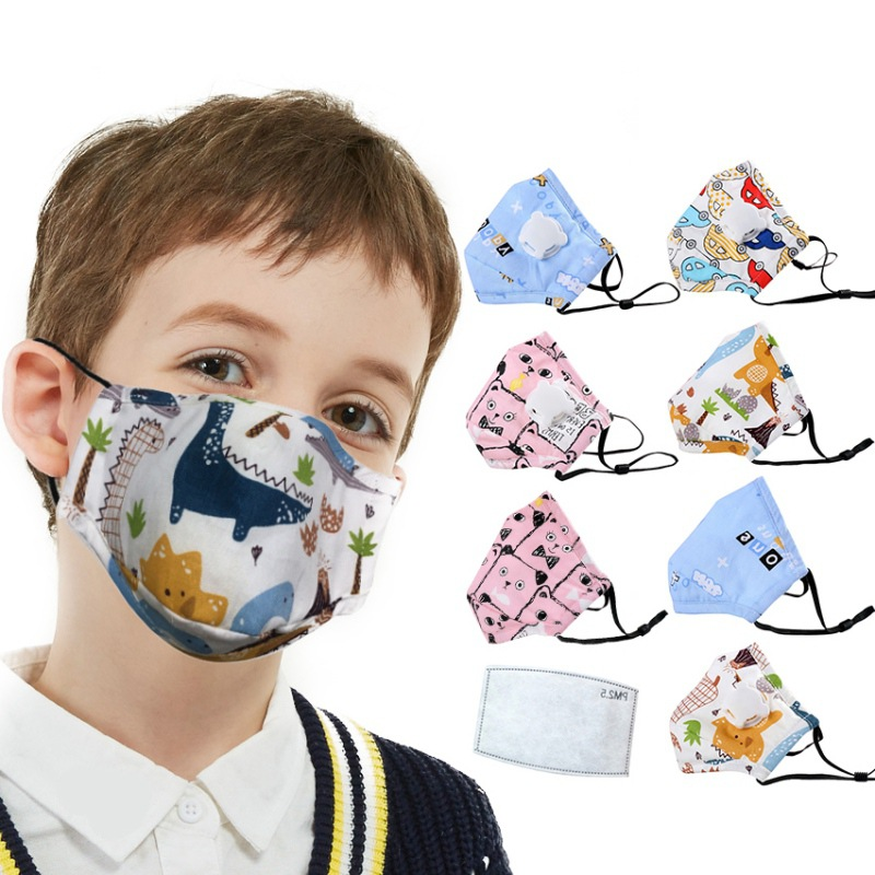 Cotton PM2.5 Children Kids Masks Respiratory Valve Cartoon Face Mask For Girls Boys Warm Dust Mask Fits 2-10 Years Old Kids