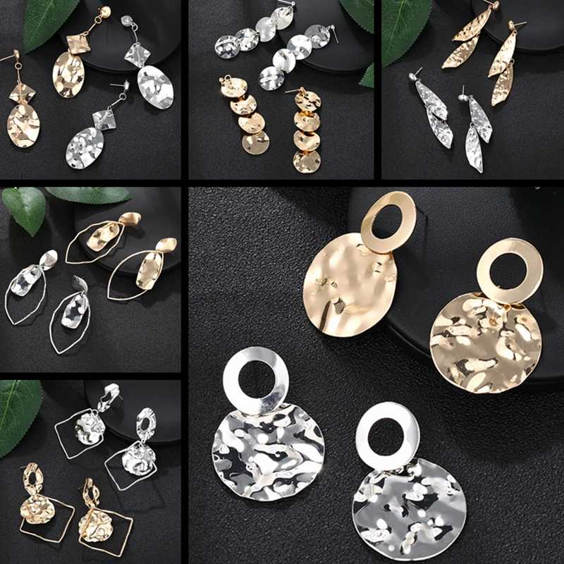 2019 nowy koreański komunikat nieregularne kolczyki liść srebrny złoty okrągły wiszące kolczyki dla kobiet moda biżuteria Oorbellen