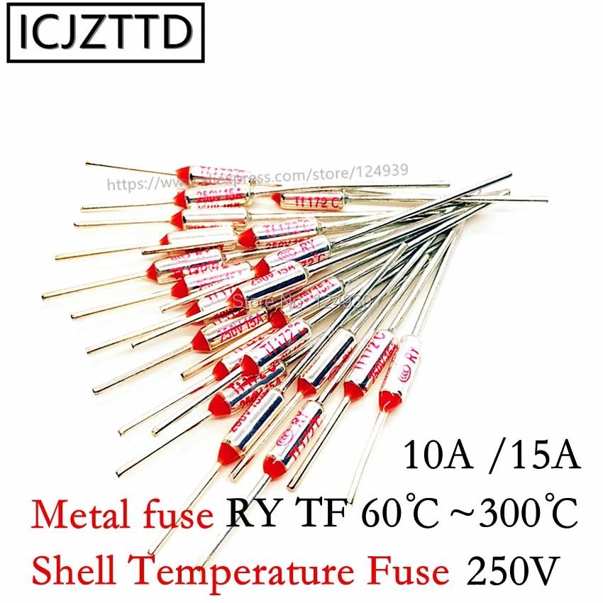 20pcs//lot RY128 TF 128 Degree Celsius 128C 10A 250V Temperature Thermal Fuse