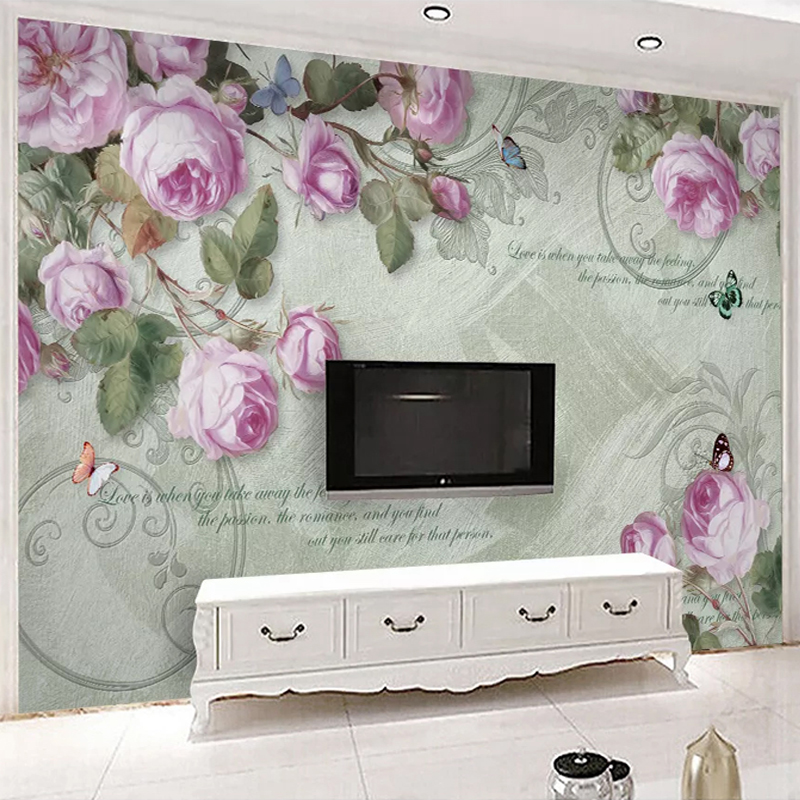 Custom Photo Wallpaper 3D Hand-painted Oil Painting Rose Flowers Murals Living Room TV Sofa Bedroom Background Wall Home Decor