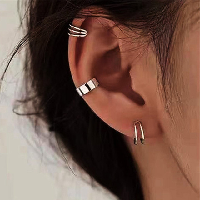 3pcs Fashion Simple Cross Clip Earrings For Women Girls Cute Gold Silver Color Punk Ear Cuff Clip Without Piercing Jewerly 1