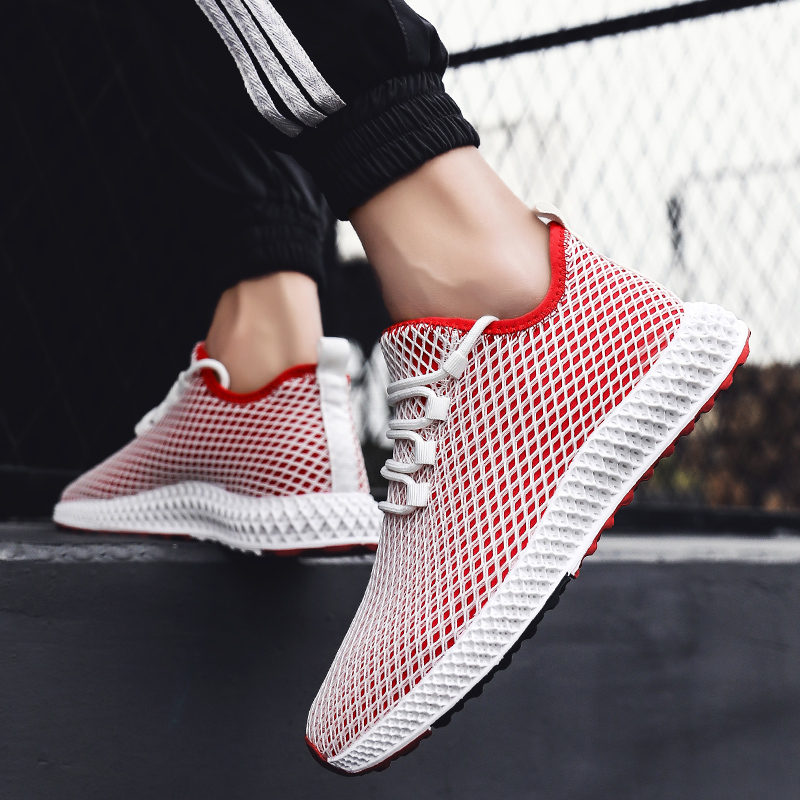 Puimentiua Shoes Sneakers Flats Mesh Summer Man Breathable Running