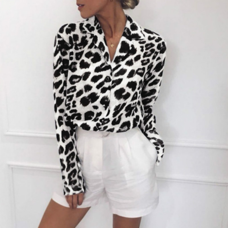 New Woman Tops And Blouses Hot Sale Women's Long-sleeved Casual Leopard Print V-neck Chiffon Shirt Plus Size 3xl Feminine Blouse