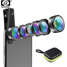 APEXEL New Phone Camera Lens Kit 6 in 1 Fish Eye Lens 205 Degree Wide Angle 25X Macro Lens CPL/Star ND32 Filter for Smartphones