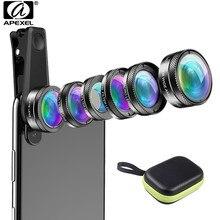 Apexel novo kit de lente da câmera do telefone 6 em 1 lente olho de peixe 205 graus grande angular 25x lente macro cpl/estrela nd32 filtro para smartphones
