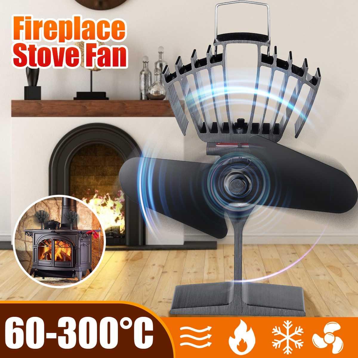 Home Heat Powered Stove Fan 2 Blades 150CFM Log Wood Burner Eco Fan Quiet Black Fireplace Fan Efficient Heat Distribution