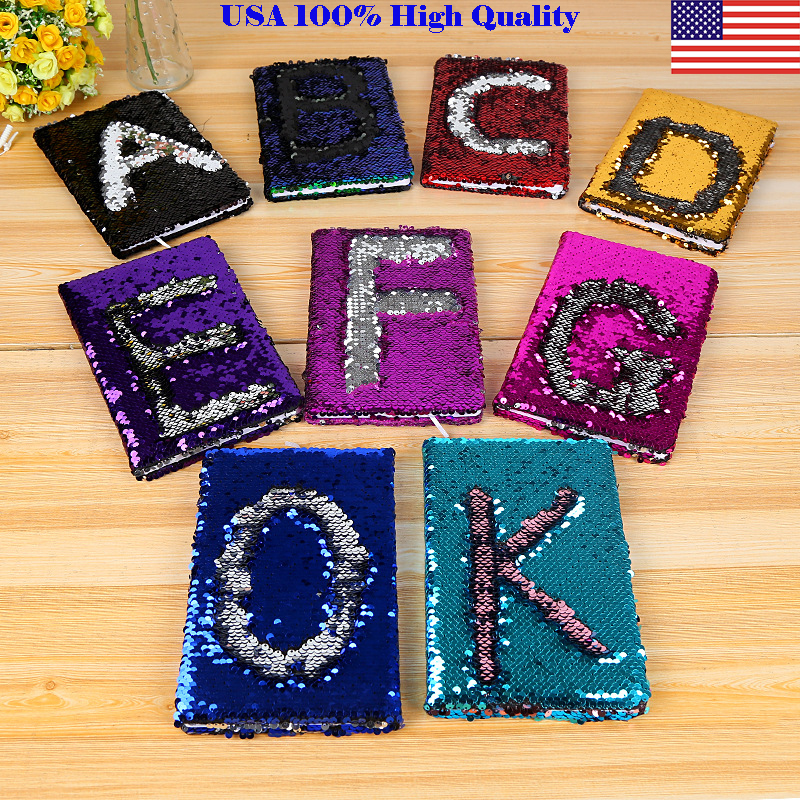 A5 Reversible Sequin Notebook Notepad Journal Diary Book Xmas Girls Gift USA Bigger Notebooks For Children