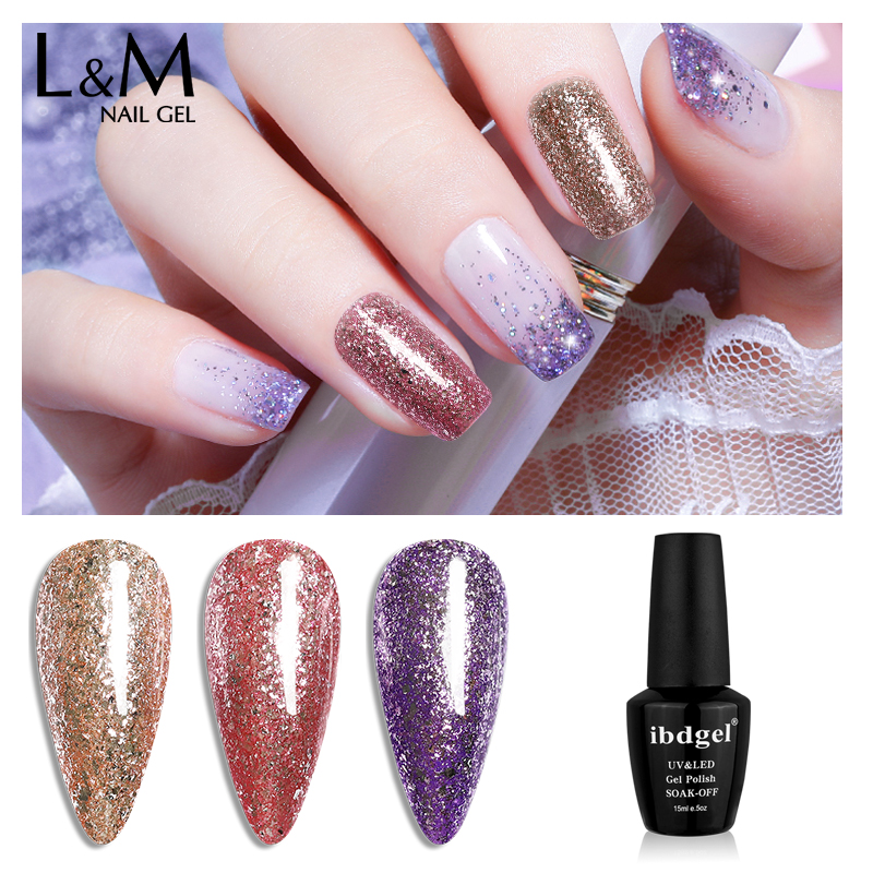 ibdgel Platinum Nail Gliter Gel Polish UV LED Starry Shinning Nail Manicure Nail Polish Gellak Glitter Sequins 15ml