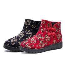 Classic cotton shoes ladies fashion retro plus velvet middle-aged and elderly floral warm non-slip wear-resistant Wangdu cotton middle aged and elderly people with cotton cotton diabetes shoes foot swelling variable foot care shoes bunion gout shoes